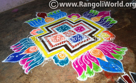 Lotus flowers pooja rangoli design 2017