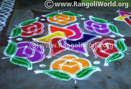 Double stroke rose flowers rangoli design 2017 2017