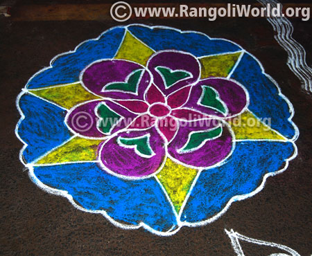 Simple margazhi freehand rangoli design 2017