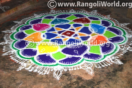 Star flowers freehand rangoli design 2017