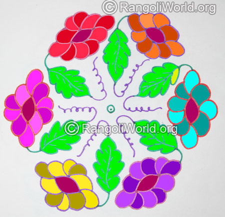 Colorful flowers leaf kolam with 15 interlaced dots jan 2016