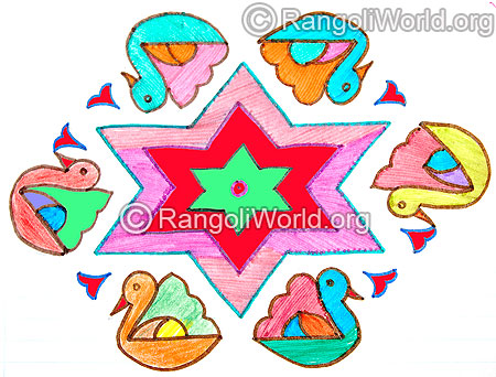 Duck and stars kolam with 15 to 8 interlaced dots jan 2016
