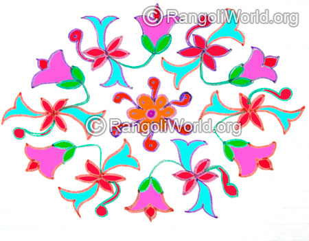 Flowers buds kolam with 13 to 7 interlaced dots jan 2016