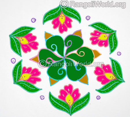 Flowers sangu shell kolam jan 2016