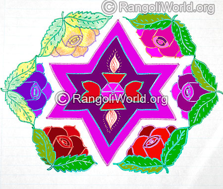 Star diamond flowers kolam jan 2016