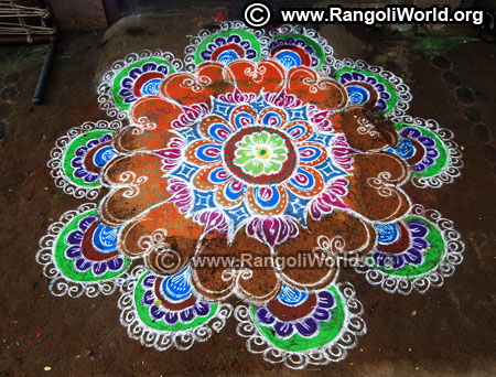 Big freehand rangoli design for new year 2019