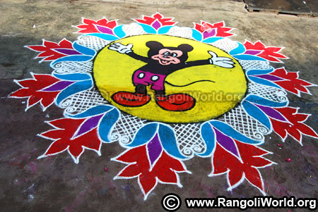 Big mickey mouse rangoli design 2019