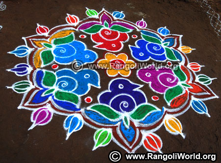 Birds and flowers street kolam design 2019