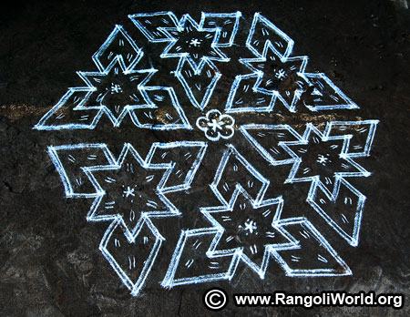 Double stroke kolam design for new year 2019