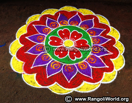 Easy freehand rangoli design for new year 2019