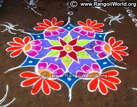 Flower freehand rangoli design new year 2019