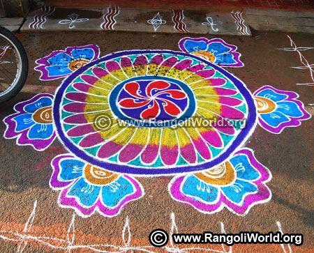 Flower rangoli design 2019 new year special