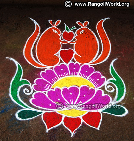 Freehand flower rangoli design 2019