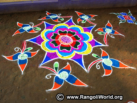 Freehand street rangoli design new year 2019
