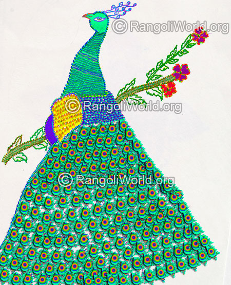 Latest peacock rangoli design 2016