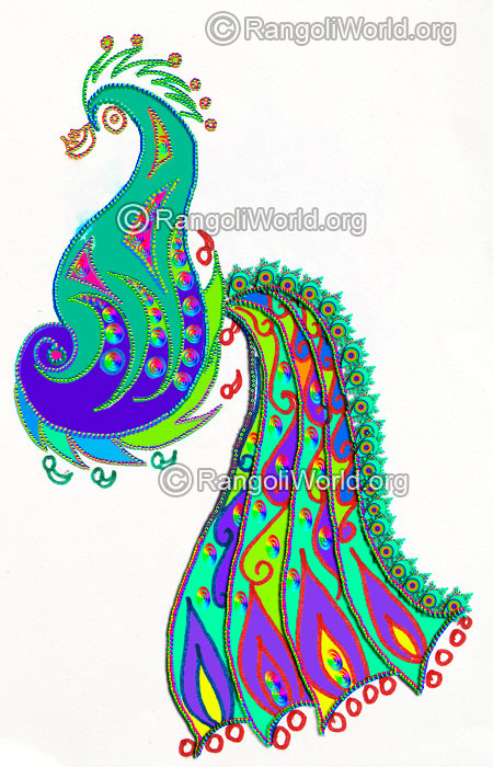 Modern peacock freehand rangoli design 2016
