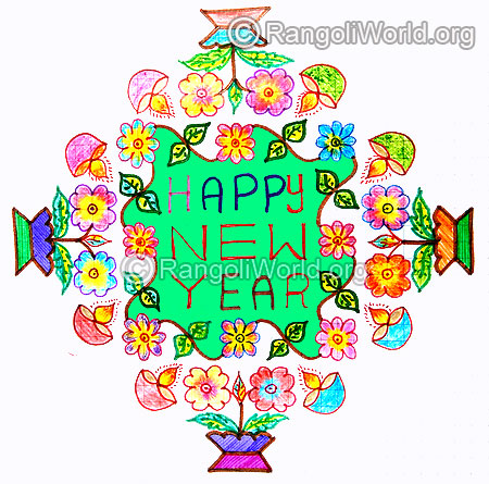 Happy new year kolam with flowers and lamps