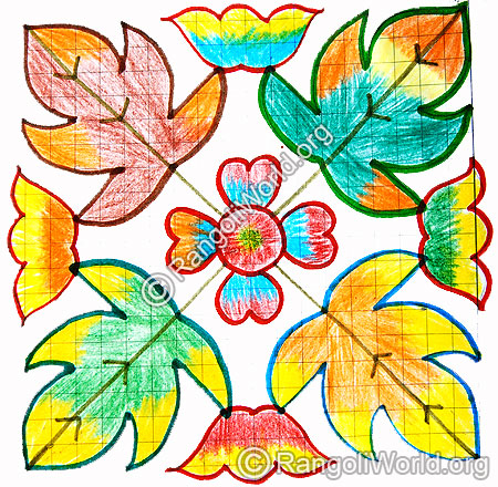 Leaf and flowers kolam
