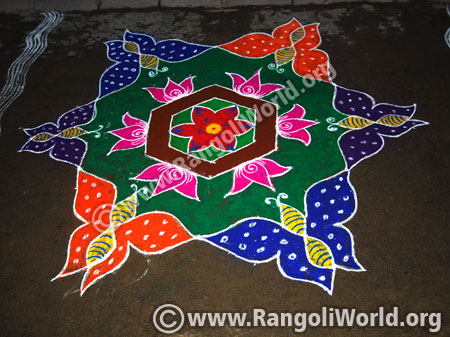 Butterfly lotus flower rangoli for pongal festival 2016