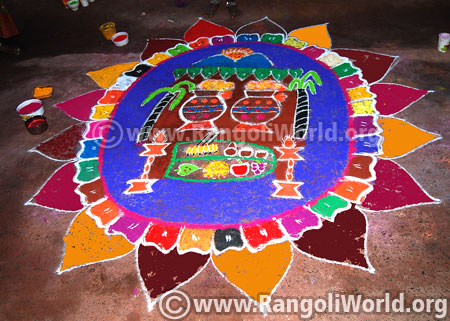 Colourful pongal pot rangoli 2016 latest design