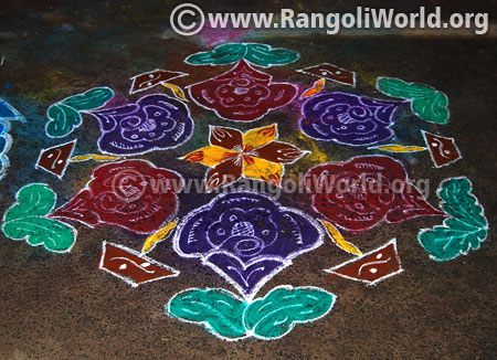 Flower deepam rangoli design jan 2016