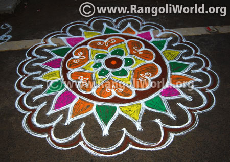 Flower freehand rangoli for pongal festival 2016 latest design