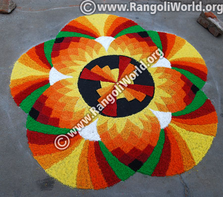 Flower rangoli for festivals jan 2016