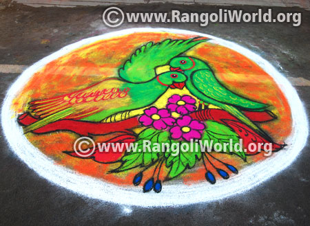 Parrot and flowers rangoli latest 2016