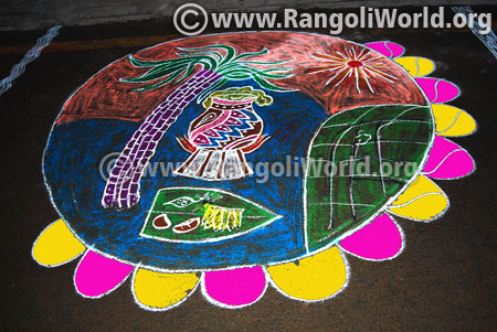 Pongal festival celebration rangoli 2016 latest design