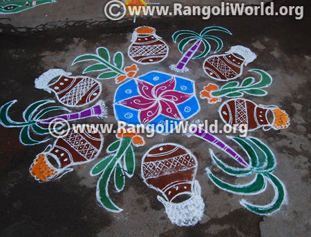 Pongal pot turmeric sugar cane rangoli design 2016 jan 15