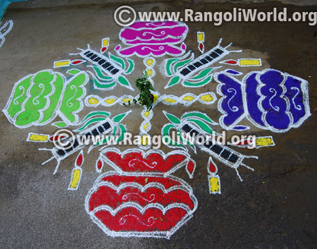 Pongal sugar cane candle rangoli jan 2016