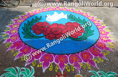 Rose flower with dove rangoli design jan 2016