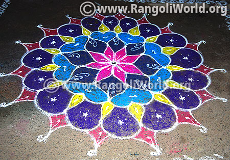 Star flower freehand rangoli for pongal festival 2016 latest design