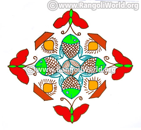 Fish butterfly deepam kolam design jan14 2017