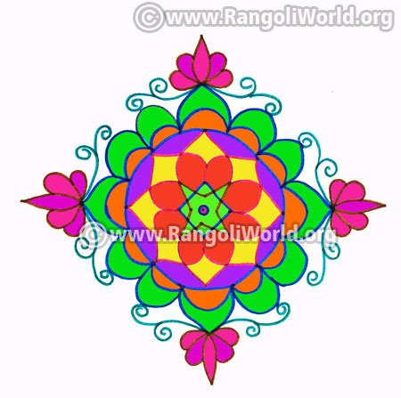 Lotus flower rangoli kolam with dots jan 14 2017