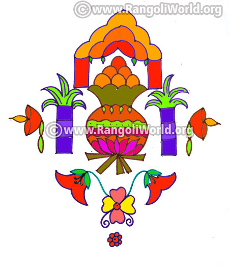 Pongal deepam kolam design jan 2017