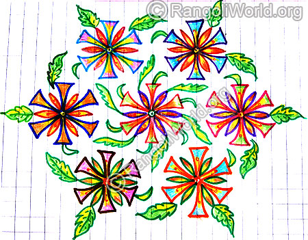 Flowers with wavy leaf kolam