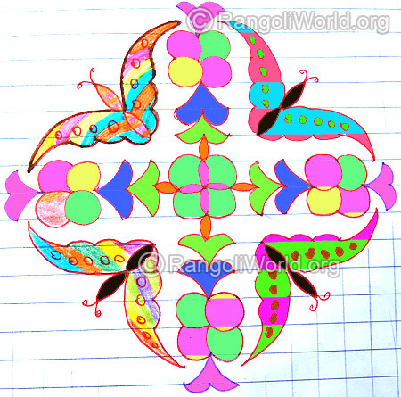 Flying butterfly kolam