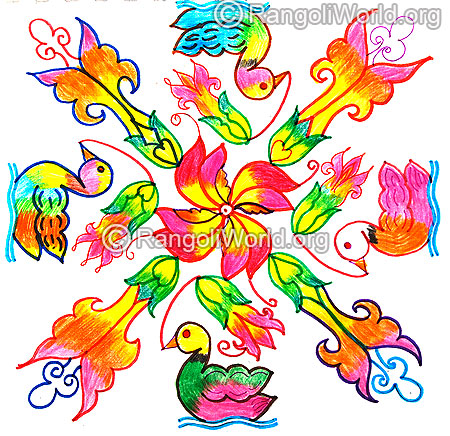 Duck and flowers kolam latest design 2016