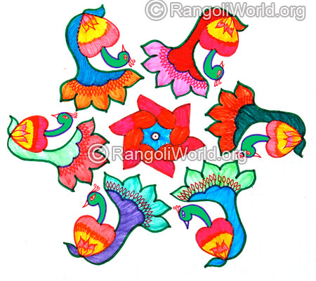 Peacock kolam for pongal festival jan 2016