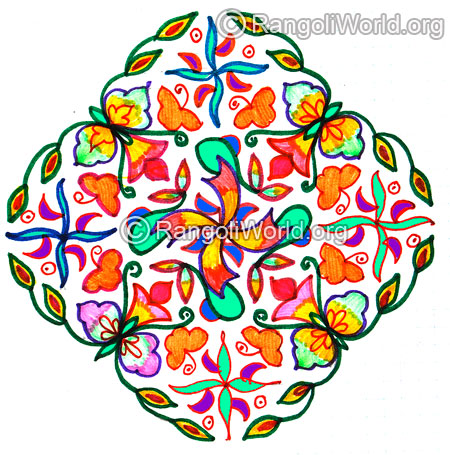 Swastika flowers kolam jan 2016 for pongal festival