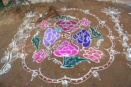 Flowers and Butterfly Kolam