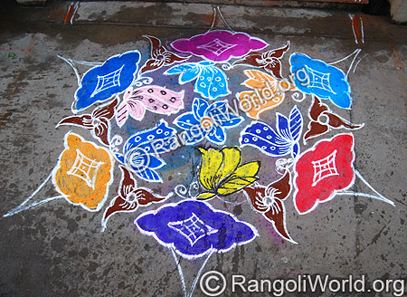 Butterfly on Flower Kolam