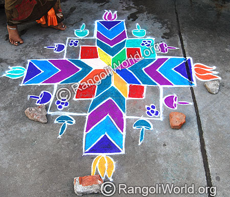 Pulli Kolam With diamond and square shapes
