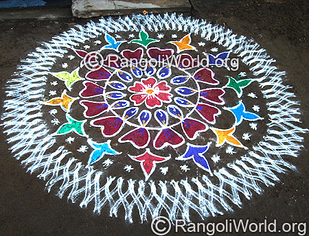 Freehand Rangoli With Double Stroke
