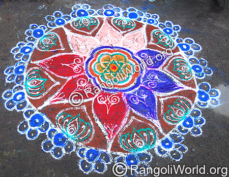 Freehand Rangoli with flowers and lotus