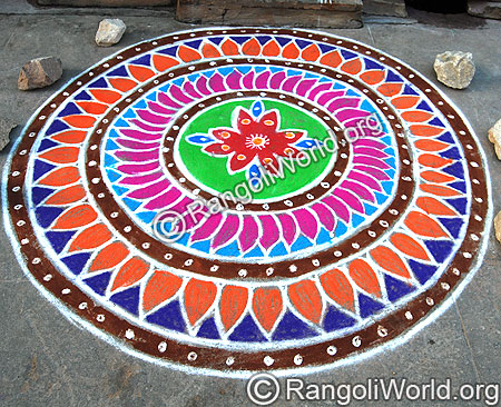 Traditional freehand Rangoli