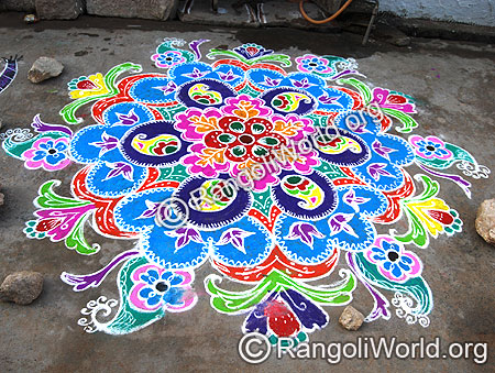 Freehand Rangoli with Mango shapes