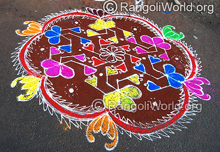 Flower Freehand Rangoli