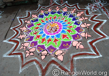 Freehand Pongal Rangoli With Kalasam